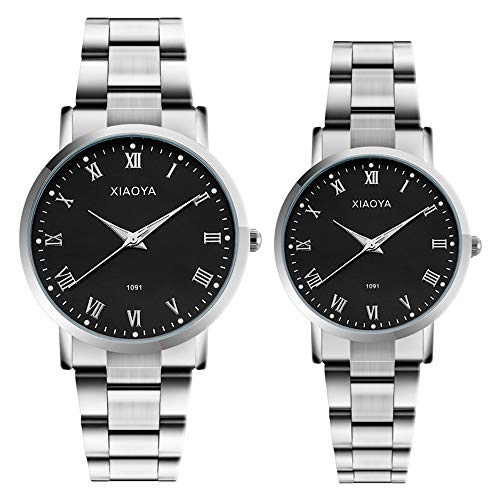 Couple Watches Anniversary Gifts Set of 2 Pairs Gifts for Valentines Day Men Women Analog Wrist Watch (Couple 1091 SS)