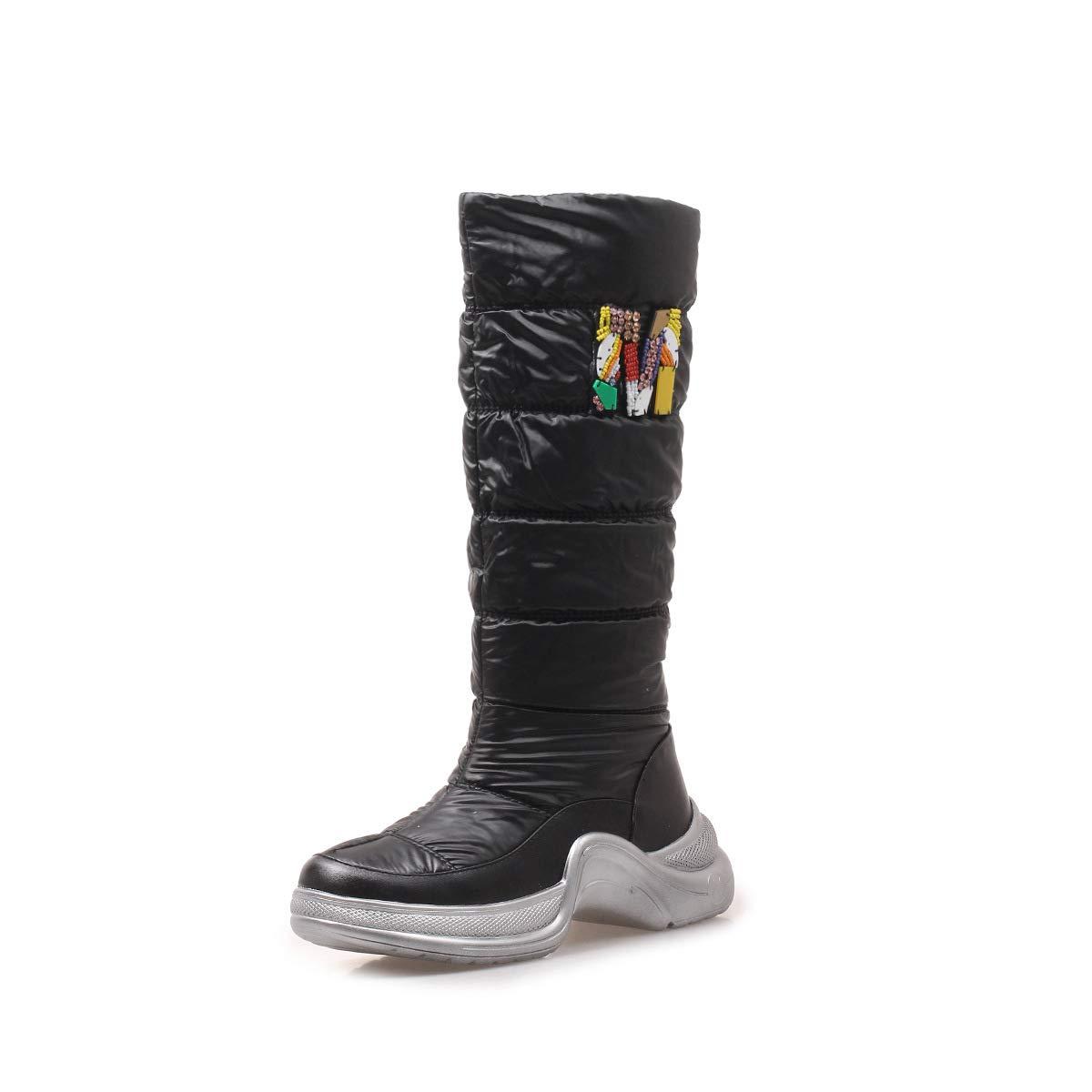 Hy 2018 Frauen Stiefel Winter Mode Sport Schnee Stiefel/Damen unten warm Winddicht Snowproof Winter Stiefel/Skifahren Schuhe Größe: 34-40 (Farbe : Schwarz, Größe : 40)