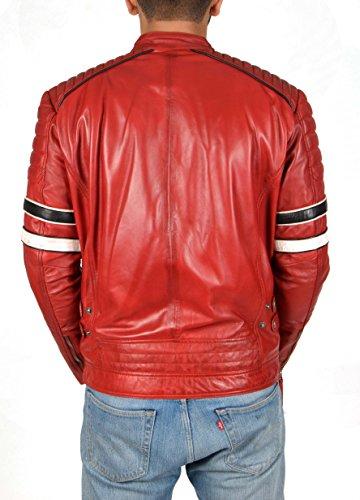 Slim Stile Corsa Fit xx Giacca Uomo Rosso Di Auto large Casuale Reale Biker Tiger Cuoio YTqzxv