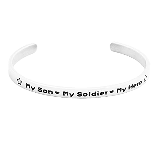 9315684be2c Amazon.com: Eilygen Cuff Bangle My Son My Soldier My Hero Military Jewelry  Gift for Navy Mom Army Mom Air Force Mom: Jewelry