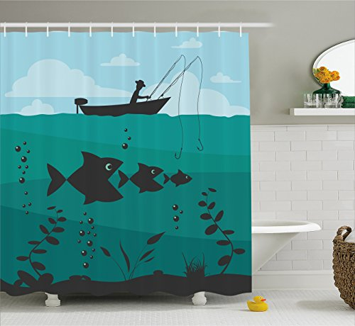 Ambesonne Fishing Decor Shower Curtain, Single Man in Boat Luring with Bobbins Nautical Marine Sea Nature Funky Image, Fabric Bathroom Decor Set with Hooks, 70 inches, Blue Teal -