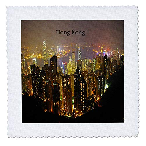 3dRose Lens Art by Florene - Winter Landscapes - Image of Hong Kong Winter Evening Aerial View - 20x20 inch Quilt Square (qs_300659_8)
