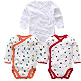 3 Pcs Baby Romper Long Sleeves Cotton Newborn Baby Girl Boy Clothes Cartoon Printed Baby Set 0-12 M E 3M