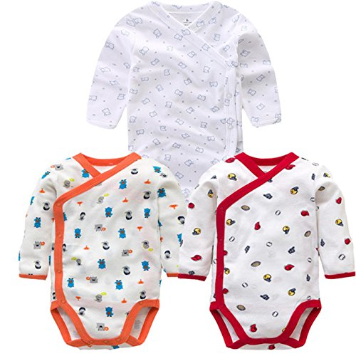 3 Pcs Baby Romper Long Sleeves Cotton Newborn Baby Girl Boy Clothes Cartoon Printed Baby Set 0-12 M E 3M by B Annie