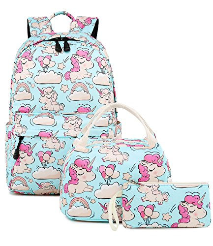 Abshoo Cute Lightweight Unicorn Backpacks With Lunch Box For Girls School Bags Kids Bookbags (Unicorn Sky Blue Set)