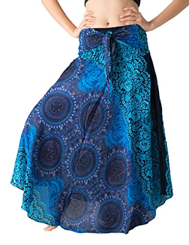 Bangkokpants Women's Long Hippie Bohemian Skirt Gypsy Dress Boho Clothes Flowers One Size Fits (Bohorose Blue, One Size) ()