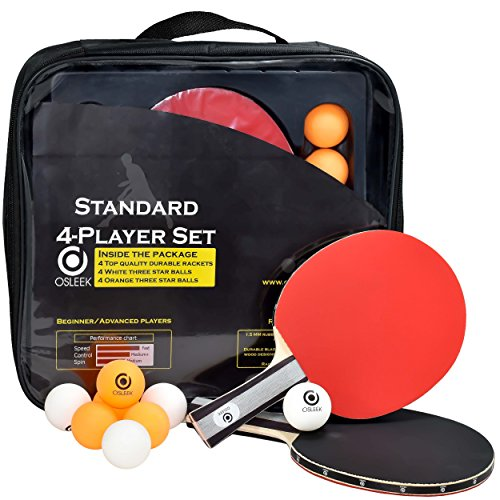 Osleek Ping Pong Paddle Set - 4 Rackets 8 Balls Professional/Recreational Table Tennis Bundle | Durable 5 Layer Blade, Performance Rubber for Control, Spin & Speed | Packed in Protective Travel Case by Osleek (Image #1)