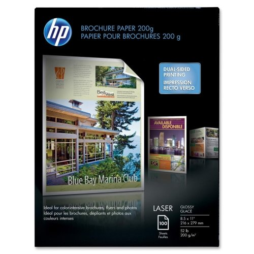 HP Brochure/Flyer Paper - Letter - 8.50quot; x 11quot; - 52 lb - Glossy, Smooth - 97 Brightness - 100 / Pack - White