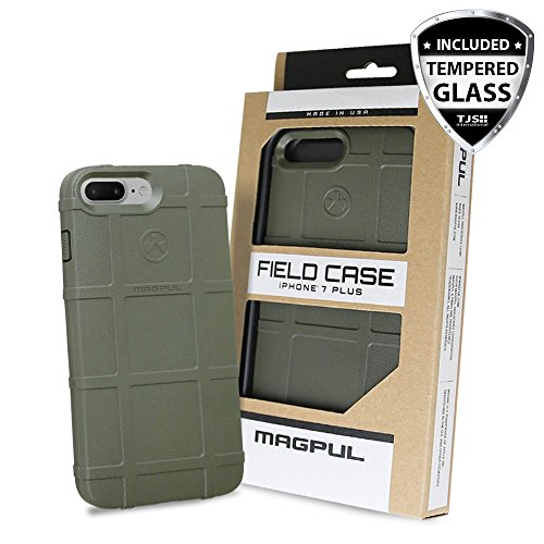 Case for iPhone 7 Plus / iPhone 8 Plus, with TJS [Tempered Glass Screen Protector] Magpul [Field] MAG849 Polymer Cover Retail Packaging Compatible Apple iPhone 7 Plus/iPhone 8 Plus (Olive Drab Green)