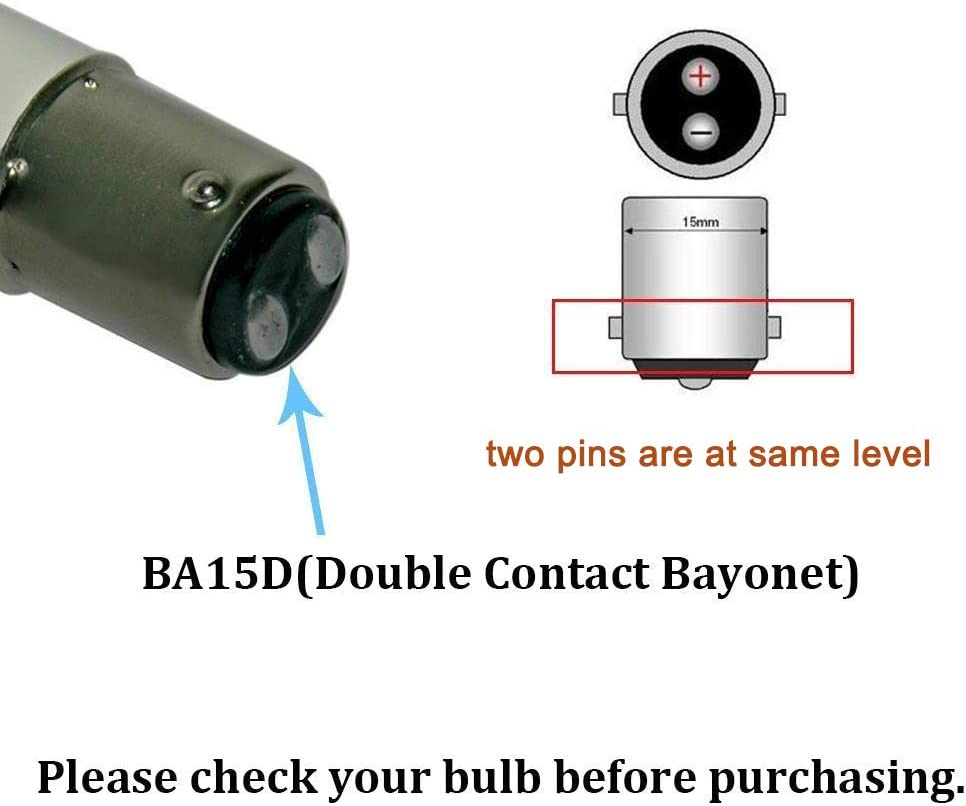 BrothersLED 1142 1076 BA15D Double Contact Bayonet LED Light Bulbs for RV Camper Trailer Automotive and Marine Boat Lights 12V/&24V Warm White 2-Pack