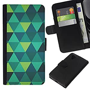 KLONGSHOP // Tirón de la caja Cartera de cuero con ranuras para tarjetas - arte polígono verde menta verde azulado modelo azul - LG Nexus 5 D820 D821 //