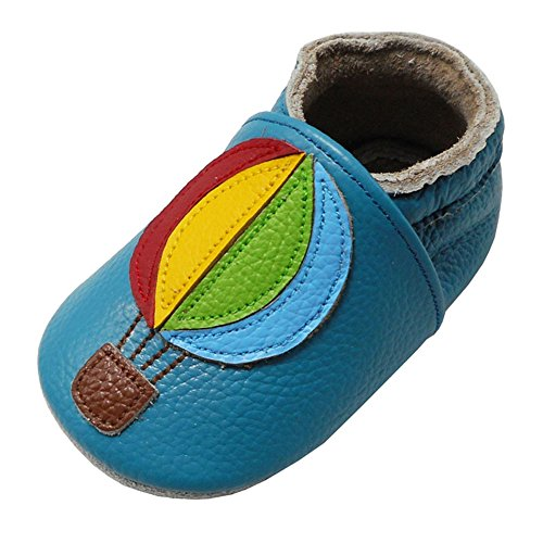 (Yalion Baby Soft Sole Leather Shoes Infant Toddler Moccasin Prewalker Crib Shoes Hot Air Balloon(24-36 Months, Lake Blue))