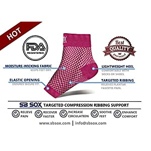 SB SOX Compression Foot Sleeves for Men & Women - BEST Plantar Fasciitis Socks for Plantar Fasciitis Pain Relief, Heel Pain, and Treatment for Everyday Use with Arch Support (Pink, Medium)
