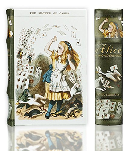 "- Alice in Wonderland Jewelry, Book, Keepsake Decorative Book Box – Faux Leather & Wooden Box Makes a Gorgeous Decoration, Hides Your Stash, And Gets You Compliments (Medium 8.25x5.75x2"")"