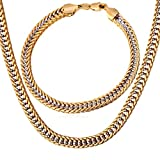 "Men Curb Chain Two Tone Gold Jewelry Set 6MM Wide Platinum & 18K Gold Plated Franco Cuban Chain Necklace Bracelet (18""-28""/8.3"")"