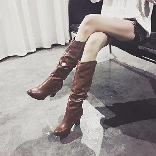 Plüsch High wuayi Frauen Wadenlänge Plissee Outdoor Boots Heel Stiefel Braun Winter Combat Wild qE8w8Br
