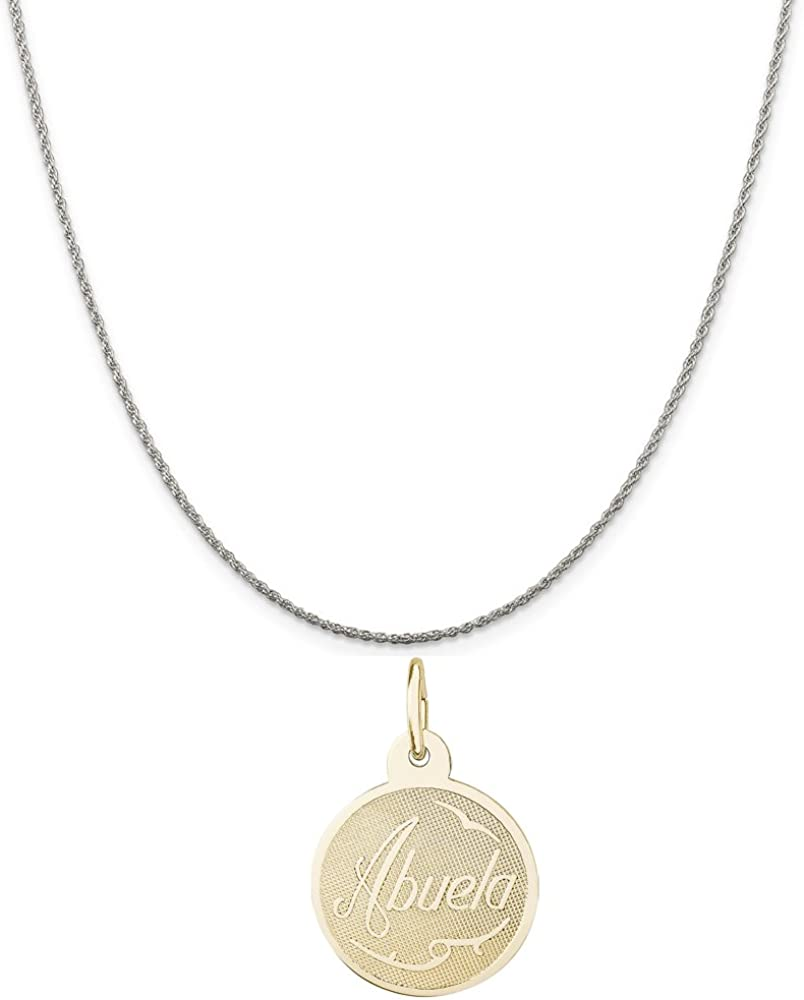 18 or 20 inch Rope Rembrandt Charms Two-Tone Sterling Silver Abuela Charm on a Sterling Silver 16 Box or Curb Chain Necklace