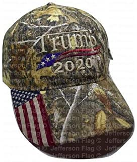 Donald Trump 2020 Cap Real Tree camo hat with American Flag Sewn on Visor Embroidered in