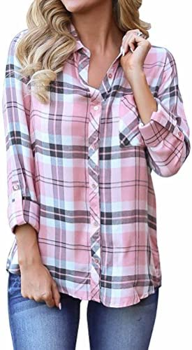 Grace Elbe Women's Plaid Button Down Long Sleeve Shirt
