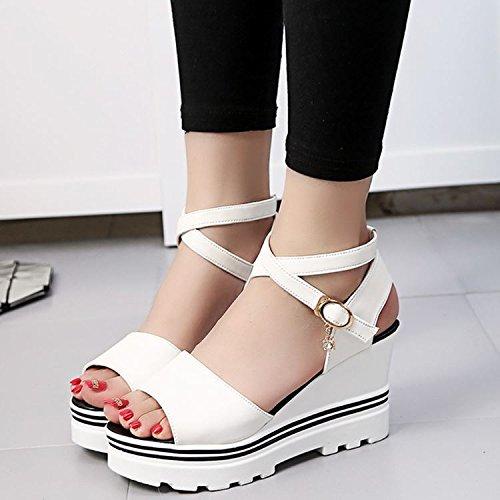 Femmes Chaussures Heel Sandales Filles Pente Épais Chaussures Poisson Bouche Une Avec Romaine Chaussures EU40 SHOESHAOGE Gâteau High Shoes Le 6AwYTqSF