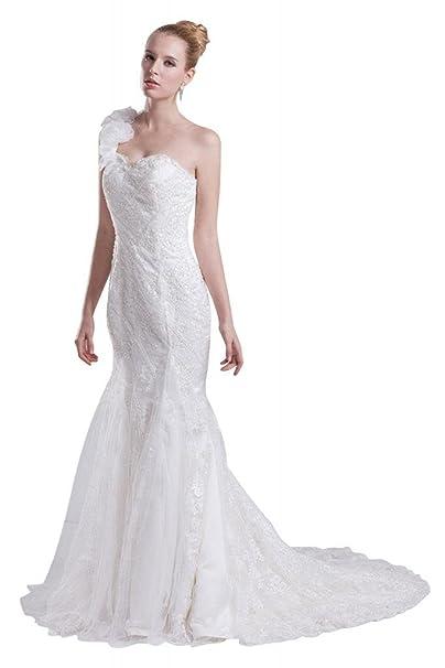George Bride sirena de un hombro de Handgemachte Flores con aplicaciones vestido de novia Vestidos de