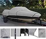 GREY, STORAGE, TRAVEL, MOORING BOAT COVER FOR TRACKER PRO DEEP V-16 SINGLE CONSOLE 1993 1994 1995 1996 1997 1998 99