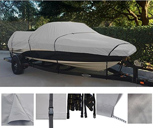 GREY, STORAGE, TRAVEL, MOORING BOAT COVER FOR TRACKER PRO DEEP V-16 SINGLE CONSOLE 1993 1994 1995 1996 1997 1998 99 by SBU