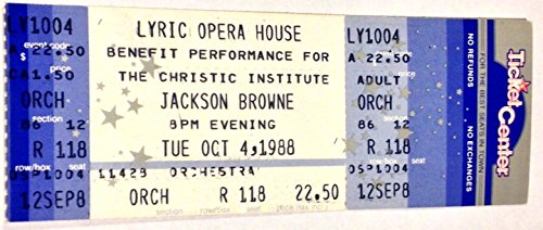 Jackson Browne Chicago 10/4/88 Unused - Tickets Browne Jackson