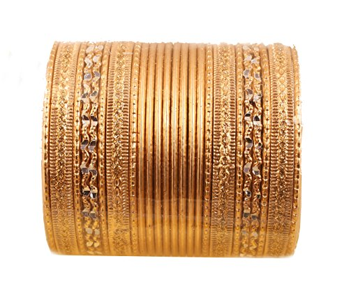 Touchstone New Colorful 2 Dozen Bangle Collection Indian Bollywood Alloy Metal Textured Golden Designer Jewelry Special Large Size Bangle Bracelets. Set of 24. in Antique Gold Tone for Women