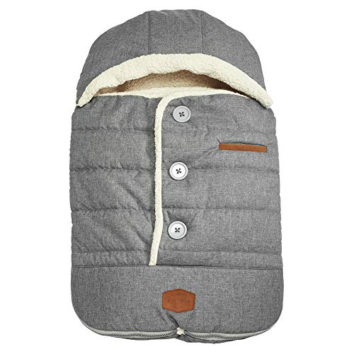 JJ Cole - Urban Bundleme, Canopy Style Bunting Bag to Protect Baby from Cold and Winter Weather in Car Seats and Strollers, Heather Grey, Infant