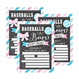 25 Baseballs or Bows Gender Reveal Baby Shower Party Invitation Cards, Pink Blue Personalized For Gender Neutral Unisex Invites Guess If Its a Boy Girl Sprinkle Fill In The Blank Printable Invite Pack