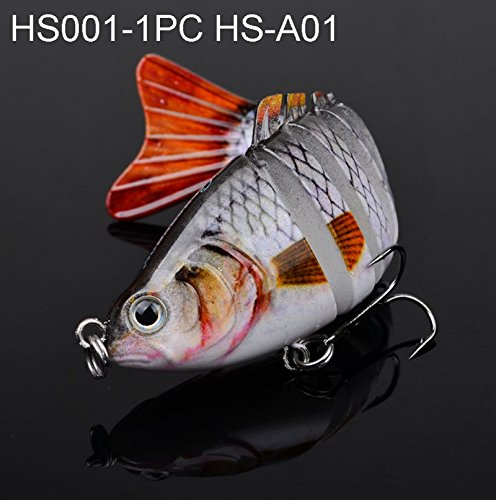 Enjoydeal 3.9'' Bass Pike Killer Multi Jointed Fishing Lure Swim Bait...