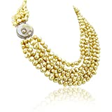 16-22 inch 7-8mm 5 Row Baroque Freshwater Cultured Pearl Necklace with Mother-of-Pearl-base-metal clasp