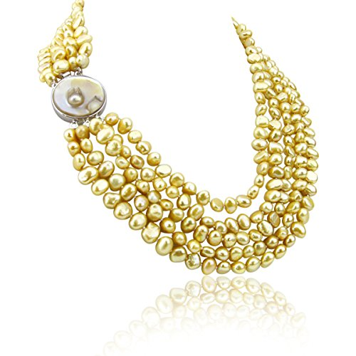 (Akwaya 16-22 inch 7-8mm 5 Row Baroque Freshwater Cultured Pearl Necklace with Mother-of-Pearl-Base-Metal Clasp (Champagne))