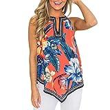 Women's Tank Tops Casual Halter Sexy Floral Flare Printing Shirt Irregular Hem Vest (S, Orange)