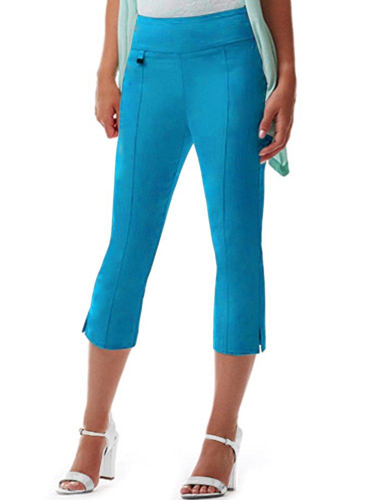 URREBEL UR REBEL UR Rebel Pants for Womens-Simon Chang Microtwill Capri Pant (Turquoise,12)