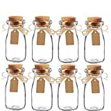 Awtlife 15pcs Vintage Glass Milk Favor Jar with Cork Lids for Wedding Party Favor