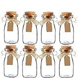 Awtlife 15pcs Vintage Glass Milk Favor Jar with Cork Lids for Wedding Party Favor