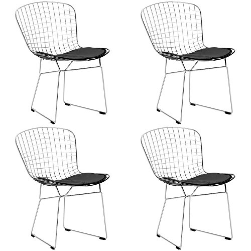 Poly and Bark EM-108-BLK-X4 Side Chair, White