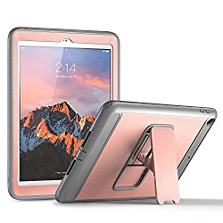 New iPad 2017 9.7 inch Case, YOUMAKER Heavy Duty Kickstand Shockproof Protective Case Cover for Apple New iPad 9.7 inch (2017 Version) with Built-in Screen Protector (Rose Gold/Gray)