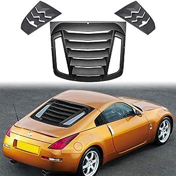 gplus Rear Window Louvers Windshield Sun Shade Cover Matte Black for 2009-2019 Nissan 370Z 3.7L