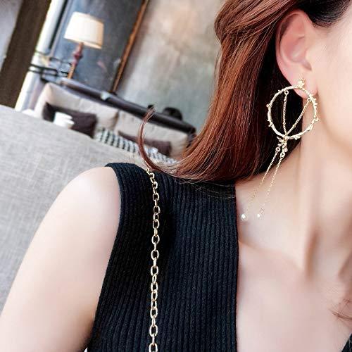 - 2018 Hollow Metal Big Circle Earrings earings Dangler Eardrop Pearl Necklace Pendant s925 Needles Creative Long Glamorous Women Girls Geometric Ear Jewelry