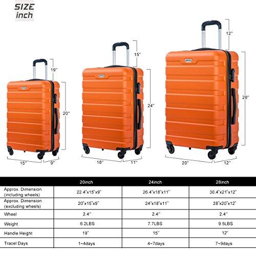 Merax Luggage Set 3 Piece Lightweight Spinner Suitcase (Orange) by Merax (Image #2)