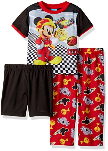Disney Boys' Toddler Mickey Mouse 3-Piece Pajama Set, Engine red, 2T ()