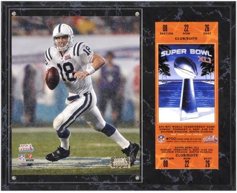 Indianapolis Colts Super Bowl XLI Peyton Manning Plaque with Replica Ticket - NFL Player Plaques and Collages