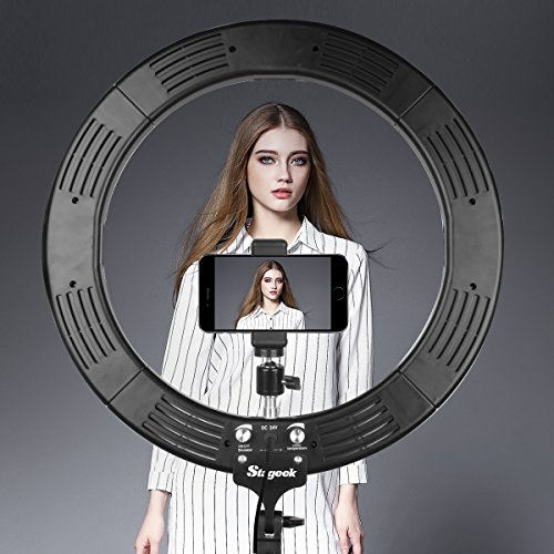 "LED Ring Light, Stageek 18"" Dimmable SMD LED Ring Light, 60W 5600K Bi-Color Camera Photo Video Lighting Kit with Tripod Stand, Phone Holder, for Smartphone,Youtube, Self-Portrait Makeup Video Shooting"