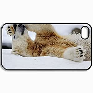 Personalized Protective Hardshell Back Hardcover For iPhone 4/4S, Polar Bear Snow Lying Rest Design In Black Case Color