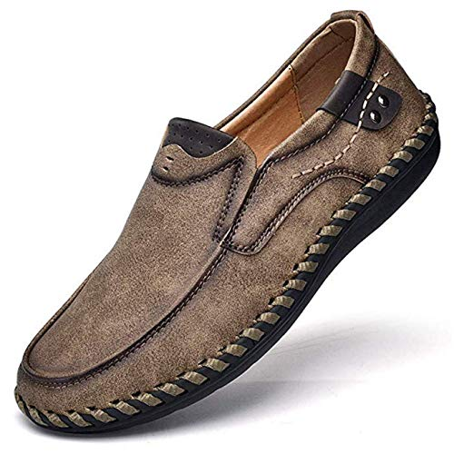 Premium Casual Shoes - Men's Penny Loafers Premium Leather Casual Shoes Breathable Driving Shoes Flats Boat Shoes Slip on (US Men 7.0, Khaki)