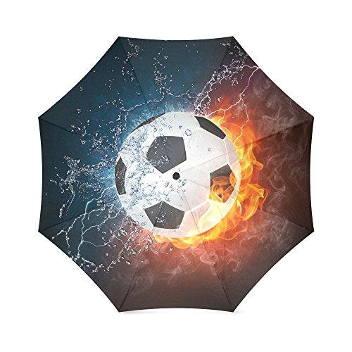 Custom cool soccer ball art,amazing football pattern Auto Foldable Umbrella 100% polyester pongee waterproof fabric