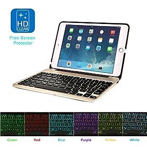MOSTOP iPad Mini 4 Keyboard Bluetooth Slim Aluminum Wireless Keypad With 7-Color LED Backlit & Built-in 2800mAh Power Bank for iPad Mini 4 (Gold)